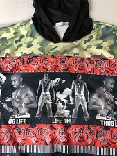 Vintage 2 Pac Thug Life Men Shirt 90's Hooded Sleeveless Camo Medium M RARE!!