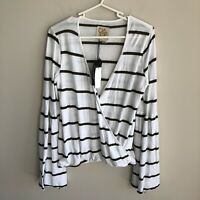 Chaser Women's Size S Striped Surplice Bell Sleeve Long Sleeve Top Green White