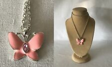 25cm Silver Plated Chain Pink Butterfly Necklace & Pink Stone Inset I Think Avon
