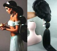 Up to date Anime Aladdin Jasmine princess Long Black Anime Wig Cosplay wig  &04