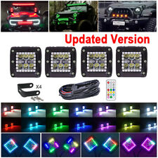 4X 3 inch 30W LED Work Light Bar Spot Pods RGB Halo Ring Chasing Wireless Remote