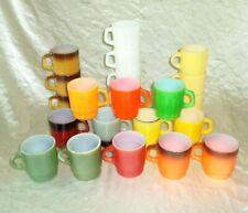 22 Vintage Fire King Green Red Yellow Brown White & Orange Stacking Coffee Mugs
