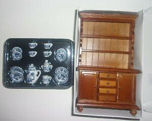 1:12 SCALE DOLLHOUSE MINIATURE 17 piece Dinnerware Set & Wooden Kitchen Cabinet