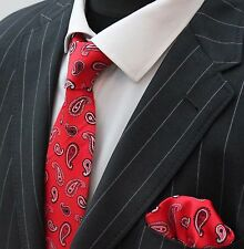 Men's Tie & Handkerchief Set Red Black & White Paisley LUC323