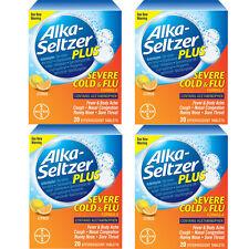 4 Pack Alka-Seltzer Plus Severe Cold & Flu Citrus Formula Tablets 20 count Each