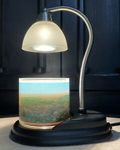 """Candle Warmers Brown Warmer Lamp with White Shade Electric No Flame Candle 11"""""""