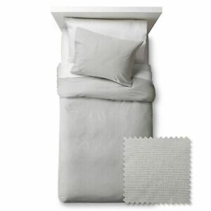 Pillowfort Seersucker 3-Piece Duvet Cover Set, Gray, Full/Queen, Brand New