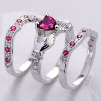 Irish Claddagh Heart Pink Sapphire CZ Wedding Ring White Gold Filled Women #5-12
