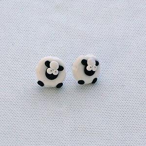 sheep earrings studs handmade easter gift cute nickle free emo baa Xmas gift