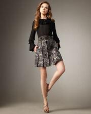 NWT 6-8-10 $348 2b RYCH Metallic Houndstooth Pleated Designer Skirt 2bRYCH