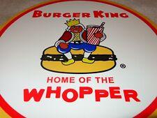 "VINTAGE BURGER KING HOME OF THE WHOPPER 12"" METAL FAST FOOD, GASOLINE & OIL SIGN"