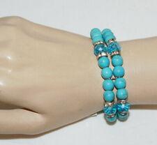 Doble Hilos Azul Turquesa Perle Cristal Diamante Imitacion Pulsera Elástica 6L