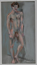 AMERICAN PASTEL DRAWING, MALE NUDE BY ALF SVENDSEN