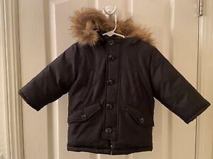 Baby Gap Boys Black Hooded Winter Jacket Coat Faux Fur Trim Size 12-18 Months