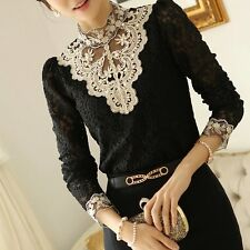 Lady Women Fashion Lace Crochet High Collar Blouse Casual Long-sleeve Shirt Tops