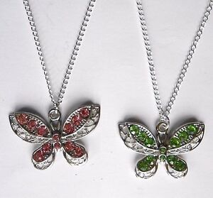 SPARKLING CRYSTALS BUTTERFLY PENDANT & SILVER-PLATED NECKLACE
