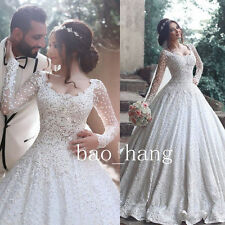 Appliques Wedding Ball Gown Sheer Long Sleeve White/Ivory Bridal Dress