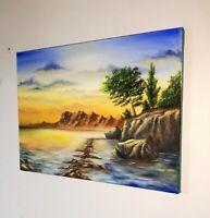 Peinture tableau, huile sur toile, paysage marin format 30/40 cm année 2020