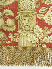 P. Kaufmann  Red Columns with Lions Design  Drapery Upholstery Fabric