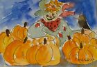 Original ACEO or ATC watercolor miniature painting - Scarecrow with Pumpkins