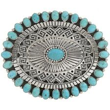 Natural Kingman Turquoise Hopi Style Design Sterling  Belt Buckle