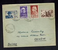 1946 France Cover to Switzerland # B196 B192 B201 B202