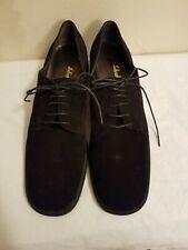 Salvatore Ferragamo Womens Black Lace Up Suede Oxfords Casual Shoes 7.5 2A