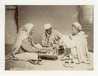 Algérie, Joueurs de Dames  Vintage albumen print. Tirage albuminé  10x14