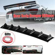 Universal Lower Rear Body Bumper Diffuser Shark 7 Fin Kit PU Spoiler Gloss Black