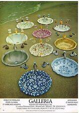 Publicité Advertising 1980 Les Vasques en porcelaine Galleria