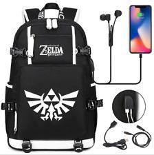 Zelda canvas Backpack School bag USB Charge port shoulder bag music Travel Bags