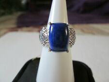 Lapis Lazuli and Tanzanite Platinum over Sterling Silver Ring (Size 6) TGW 8.46