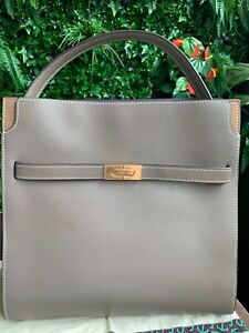 Tory Burch Lee Radziwill Double Tote Shoulder Bag Clam Shell New Authentic