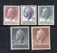 AUSTRALIA 1955-QUEEN ELIZABETH II DEFINITIVE ISSUE COMPLETE SET OF 5 STAMPS MUH