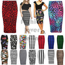Women Stretch Bodycon Midi Printed High Waist Tube Ladies Pencil Skirt UK 8-26