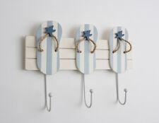 Nautical White Blue Wooden Flip Flop 3 Metal Hooks Coat Towel Rack Seaside Beach