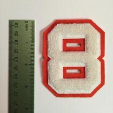 Vintage Chenille Letterman Jacket Felt Patch 8 Number 8 White Orange