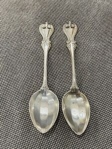 Antique Pair of Towle Sterling Silver Old Colonial Pattern Spoons