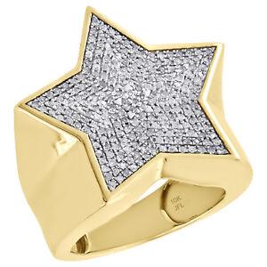 10K Yellow Gold Diamond Super Star Statement Pinky Ring 24mm Pave Band 0.67 CT.