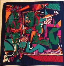"""VTG Modern Abstract Bold 33"""" Square Naked Boob Art Scarf Blue Green Red Gag Gift"""