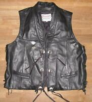 Men's Lace-Up Leather Vest With Conchos / Biker Vest IN Black XL Approx. 54/56