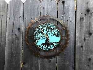Tree Of Life Saw Blade clock Rustic  Copper