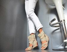 New Sexy Ladies Summer Boots Wedge Heel Ankle Boots Beige 36/41