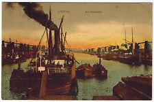 Ships in Harbour, Szczecin/Stettin, Poland/Germany, 1918 via German Marine Post