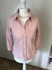 Viyella Cool Pink Striped Cotton Shirt s8 Cropped Sleeves Seersucker Material