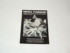 MISSILE COMMAND atari 2600 Dutch Nederlands manual only