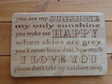 Engraved Wooden Plaque You are my sunshine, my only sunshine Wedding First Dance