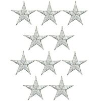 """Star Applique Patch - Silver 5/8"""" (10-Pack, Iron on)"""