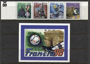 EL SALVADOR 1998, WORLD SOCCER CUP - FRANCE, Sc 1481-1482, STRIP OF 4 + S/S, MNH