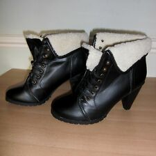 LADIES BLACK **LA REDOUTE**  HEEL ANKLE BOOTS WITH FLEECE TOP SIZE 6
